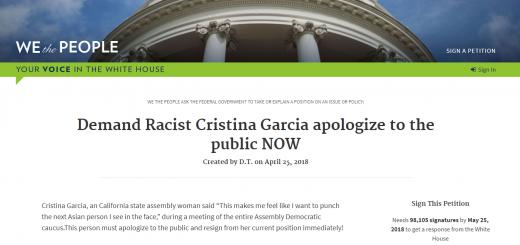 加州女议员曝歧视亚裔言论 民众白宫网站请愿要求其道歉并辞职