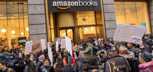 Image result for Amazon HQ2 protesters swarm Herald Square bookstore