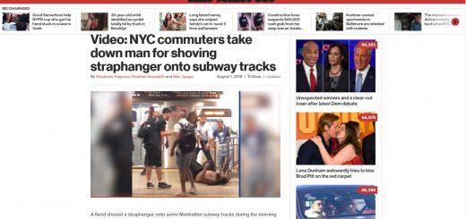 纽约流浪汉将一人推下地铁 乘客合力将其制服
